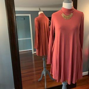 Mock-Neck Swing Tunic Dress - Marsala